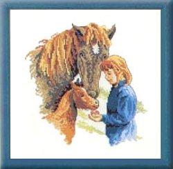 画像1: 馬の親子と少女