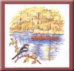 画像1: 秋の風景すずめ・ボート